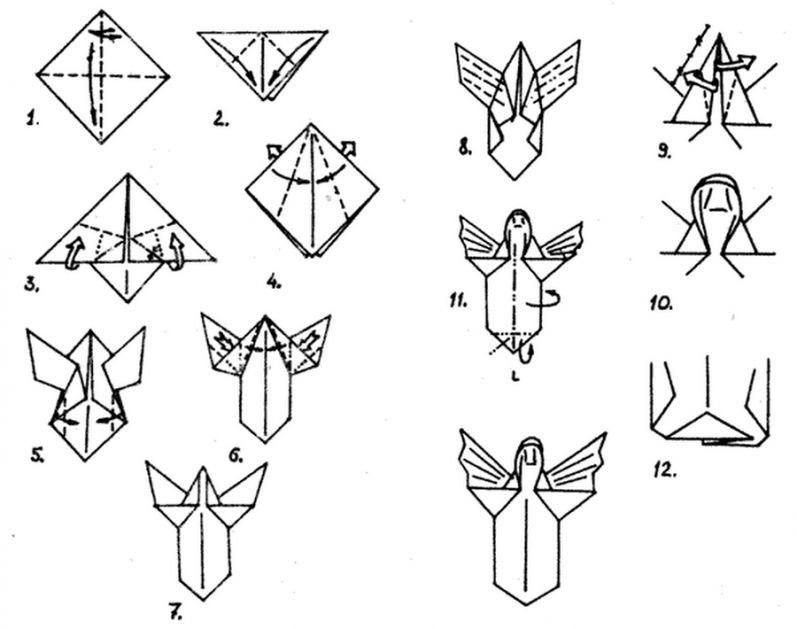 оригами рождественский ангел